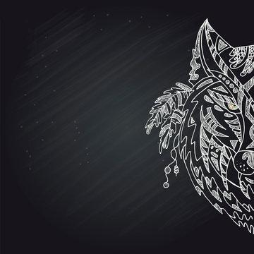 Wild beautiful wolf head hand draw on a chalk board background.Fashion boho american steam punk style in a vector illustration
