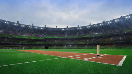 Grand cricket stadium with wooden wickets diagonal view in daylight Wall mural