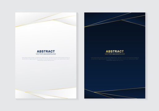 Cover brochure template header and footers polygonal pattern luxury style on dark blue and white background with golden lines. You can use for letterhead, poster, banner web, print, leaflet