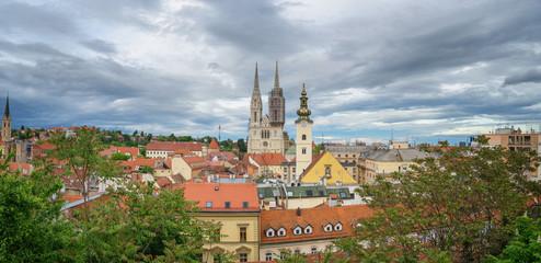 Fototapete - Panoramic View of Zagreb, Croatia