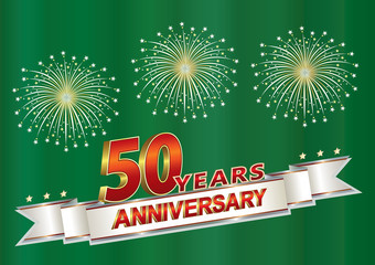 50 years anniversary postcard with salute on a green background with silver ribbon.Vector illustration