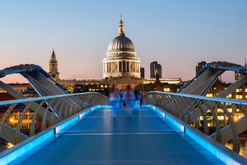 London, London Millennium Footbridge  and St. Paul's Cathedral at night