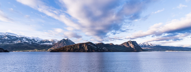 Morning panorama over the Alps mountains and lake. Switzerland Canton Lucerne.