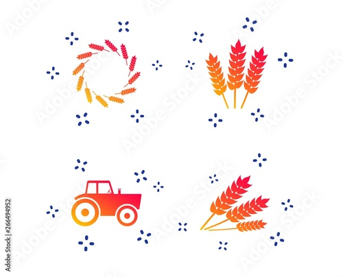 Agricultural icons  Wheat corn or Gluten free signs symbols  Tractor