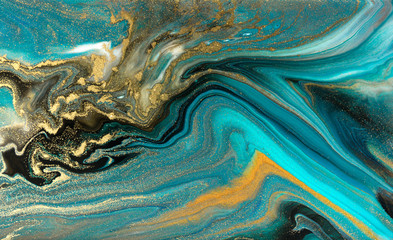Blue marbling pattern. Golden marble liquid texture.