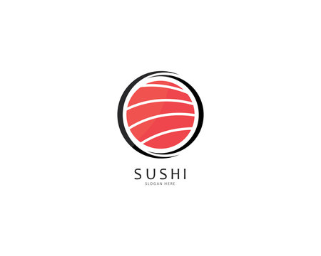 Sushi logo template vector icon for japanese food illustration design