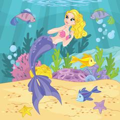 Foto op Plexiglas Zeemeermin Cute Princess Mermaid