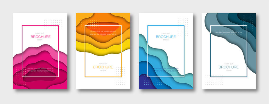 Set of brochure templates, covers, abstract 3d backgrounds with paper cut shapes. A4 size. Vector Illustration.