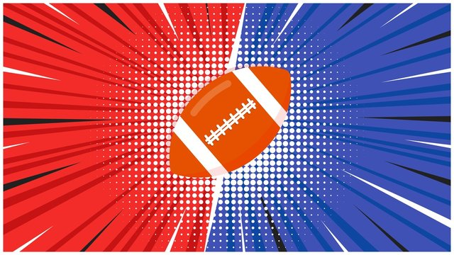 Versus screen with orange american football ball flat style design icon sign on the halftone background vector illustration. Fight screen for game battle. Football versus game!