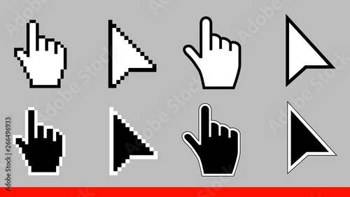 8 Black and white arrow pixel and no pixel mouse hand