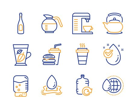 Water splash, Water cooler and Coffeepot icons simple set. Coffee machine, Mint leaves and Hamburger signs. Takeaway, Teapot and Champagne symbols. Aqua drop, Office drink. Line water splash icon