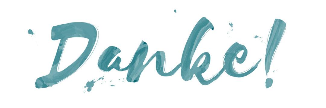 Danke im Aquarell Wasserfarben Stil