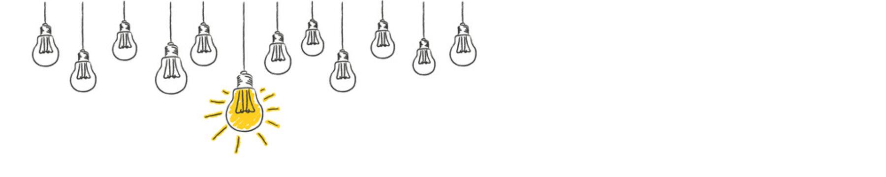 light bulbs idea conzept hanging