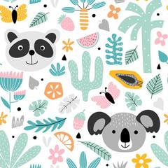 Kids background with panda and koala