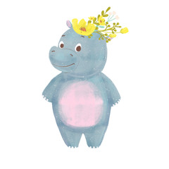 Cartoon baby hippo with wreath isolated on white background