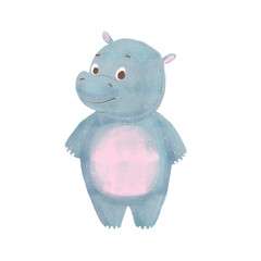 Cartoon baby hippo isolated on white background