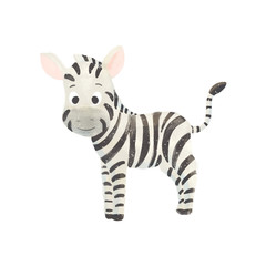 Little cute cartoon zebra