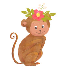 Monkey with flower wreath. Flora and fauna concept.