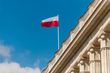 Fototapeta flaga Polski na tle nieba obraz
