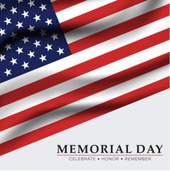 Memorial day. Greeting card with USA flag.