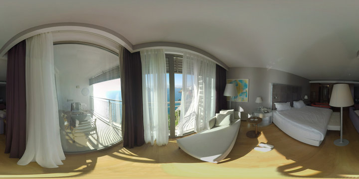 360 photo - Comfortable hotel room on the upper floor. Interior with king size bed and balcony overlooking the sea. Vacation in Antalya, Turkey