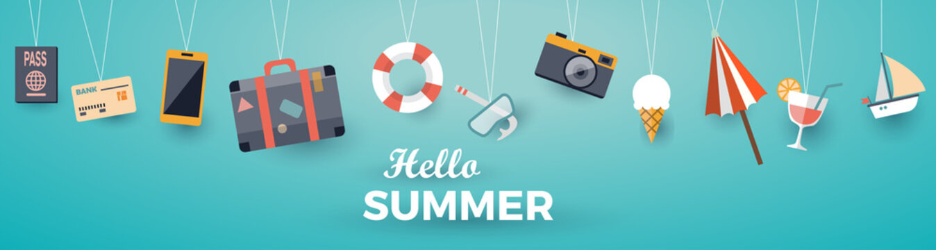 Hello summer with decoration origami hanging on the sky background. Vector illustration with boat, luggage, sailing boat, cocktail, suitcase, passport, camera, smartphone, credit card and umbrella