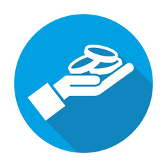 Money vector blue icon in modern flat style isolated. Money can support is good for your web design.