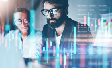 Double exposure.Two stock traiders making analysis of digital market and investment in block chain crypto currency. Stock trade concept