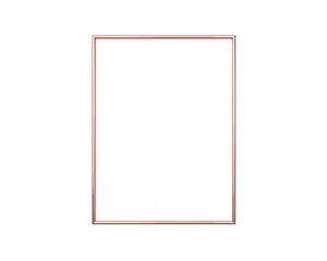 Rose gold frame mockup on a white background. 3x4 Vertical, Portrait 3d Rendering