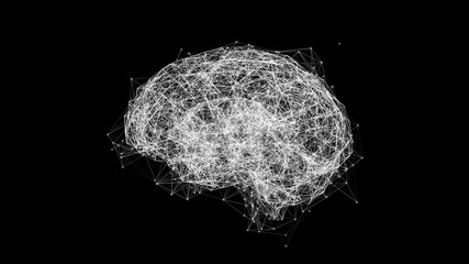Digital data and network connection of human brain isolated on black background. Artificial intelligence conceptual image