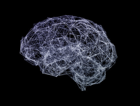 Artificial intelligence concept. Network human brain. Abstract futuristic science and technology background.