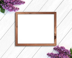 Wooden frame mockup on a painted white background. 4x5 Horizontal Landscape