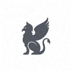 Gargoyle silhouette design element in vintage style for logo or badge vector illustration.