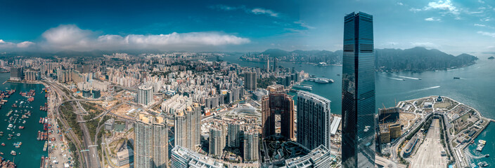 Aerial view of West Kowloon, Hong Kong