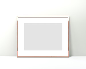 A4 Rose gold frame mockup on a white background. 2x3 Horizontal 3d Rendering