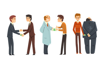 People giving bribes set, corruption and bribery concept vector Illustration on a white background