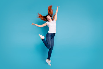 Wall Mural - Full length body size view portrait of her she nice attractive cheerful cheery ecstatic girl wearing white tshirt having fun time weekend isolated over bright vivid shine blue background