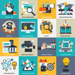 Business, management and technology icon set for websites and mobile applications. Flat vector illustration