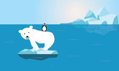 Polar Bear and Penguin on small melting ice - Global warming crisis