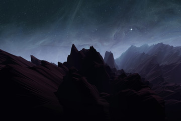 alien planet with rough terrain, mountain landscape with stars on night sky, illustration with 3d elements Wall mural