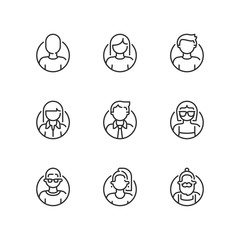 Outline icons. Avatar interface