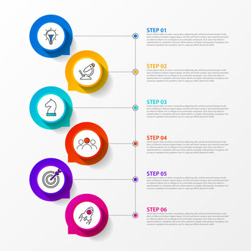 Infographic design template. Timeline concept with 6 steps