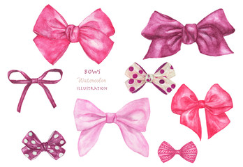 Set of different decorative pink gift bows. Hand painted isolated on a white background. Watercolor illustration.