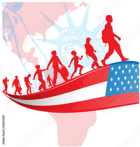 USA flag with immigration people on american map