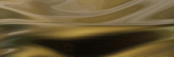 golden Carbon fiber cloth wave. 3d illustration