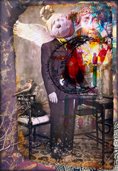 Foto op Textielframe Imagination Scrapbooks and macabre and surreal collages with drawings and old vintage photographs