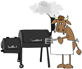 Cow cooking on a large smoker/grill