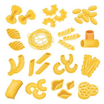 Pasta types set, italian noodles and macaroni