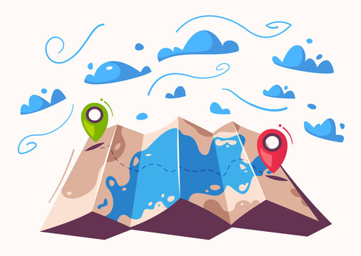 Travel concept. Router in a map. Cartoon vector illustration.