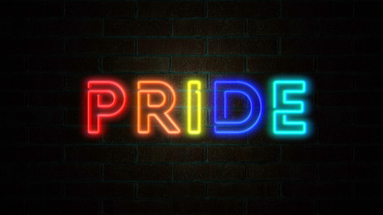 The word Pride flickering on brick wall. LGBT background